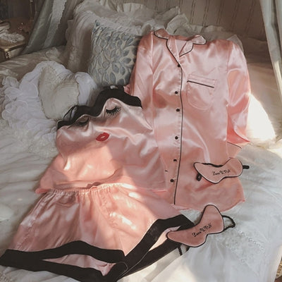 Ensemble Pyjama Rose Short Satin Femme.
