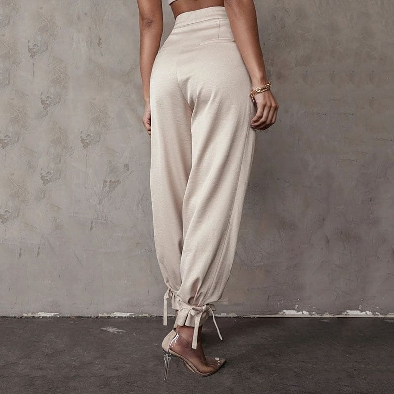 Pantalon Sarouel Couleur Sable Satin