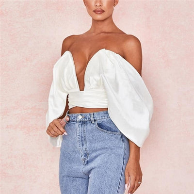 Crop Top Satin À Noeud Dos Nu