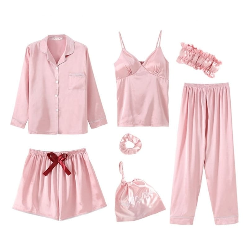 Ensemble Pyjama Satin Rose Pâle