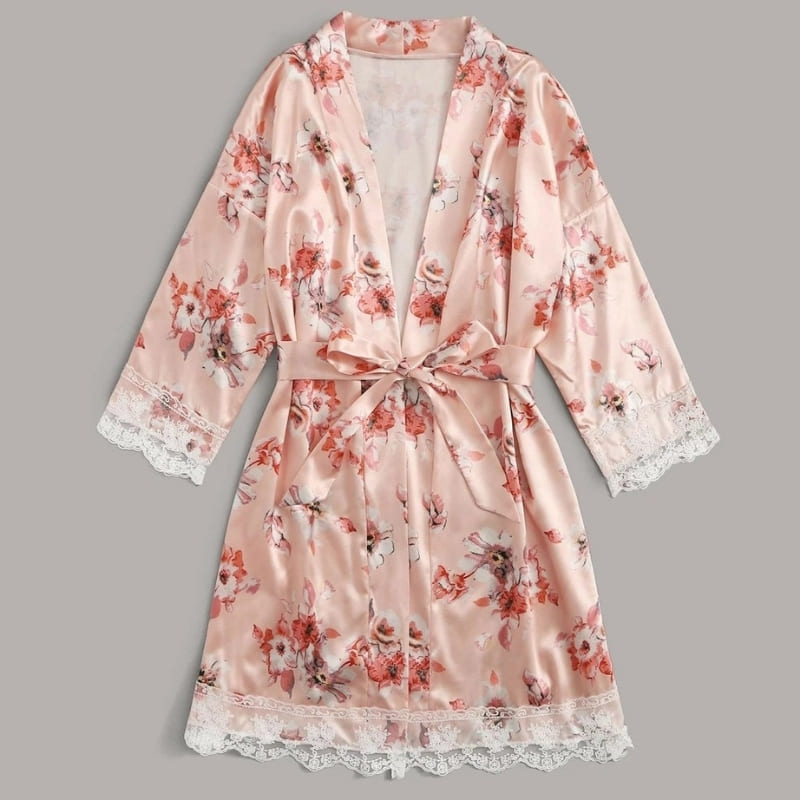 Ensemble Pyjama Satin Rose Floral.