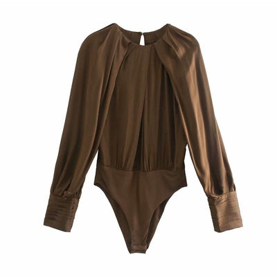 Body En Satin Marron.