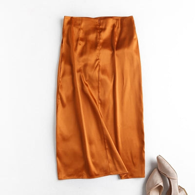 Jupe En Satin Orange.