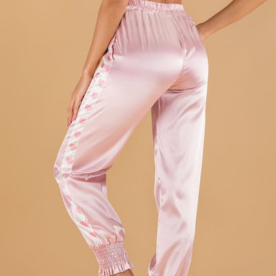 Pantalon Satin Coeur Rose.
