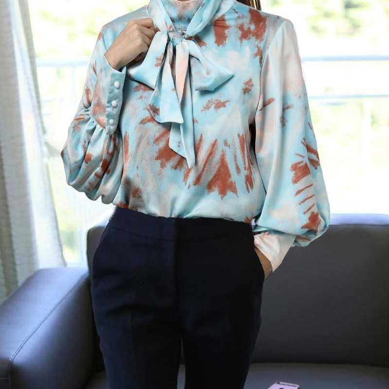 Blouse Satin Bleu Tie And Dye.