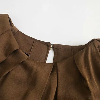 Body Satin Marron Manches Longues.