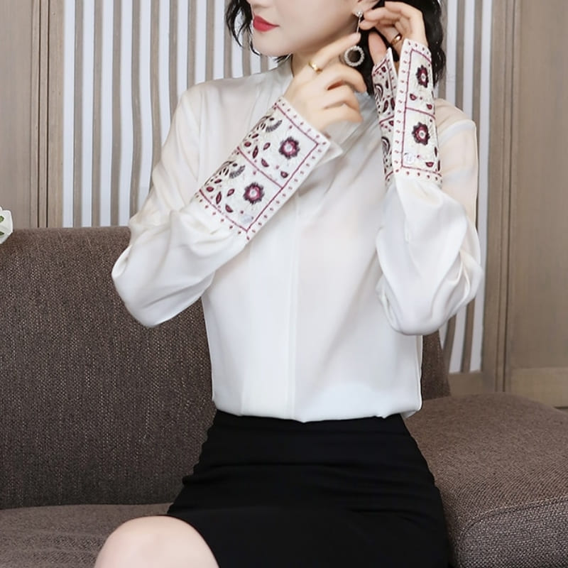 Blouse Satin Blanc.