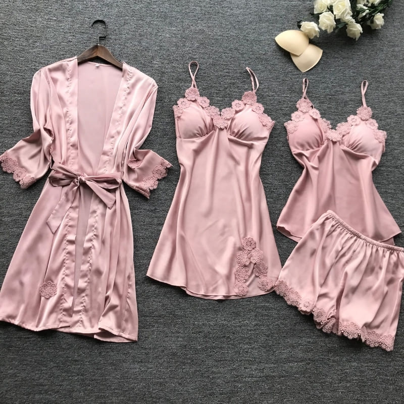 Ensemble Pyjama Satin Rose.