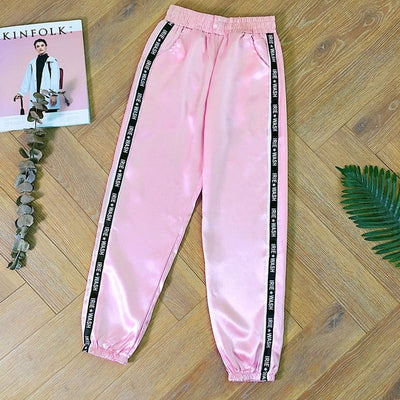 Pantalon En Satin Rose.
