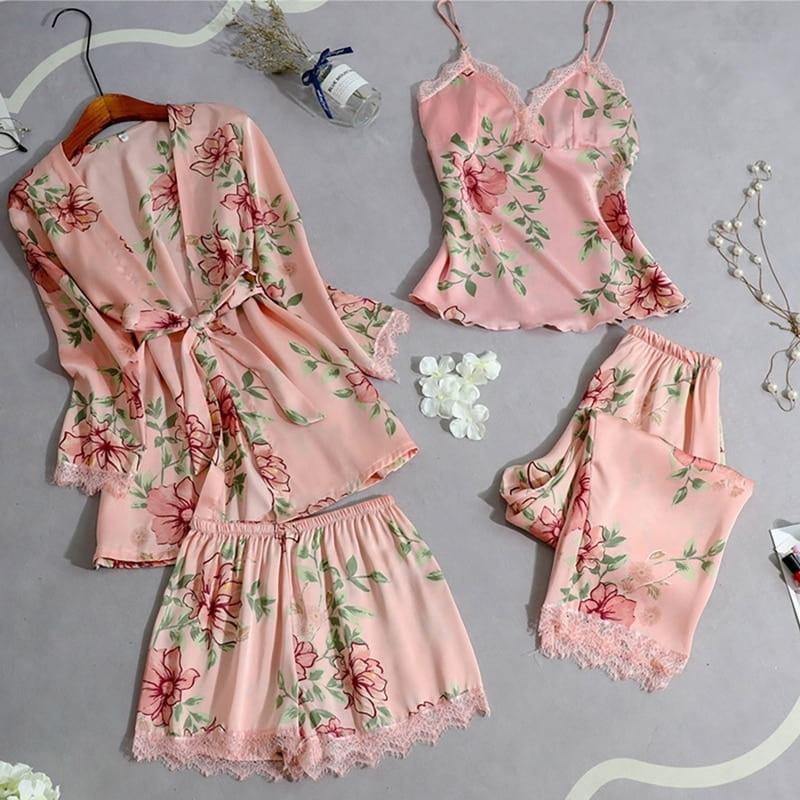 Ensemble Pyjama Satin Rose Fleuri.