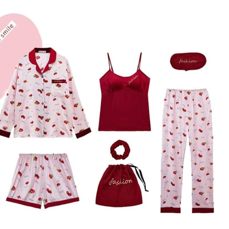 Ensemble Pyjama Satin Cerise.