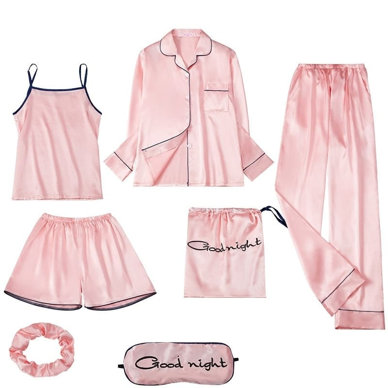Ensemble Pyjama Satin Rose Poudré.