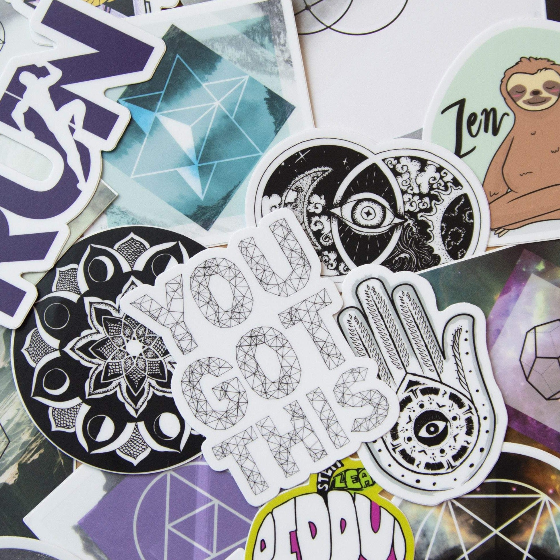 Random Sticker Pack - (5) Vinyl Stickers, travel, nature enthusiast, backpacking, outdoors, sacred geometry, geometric, art stickers