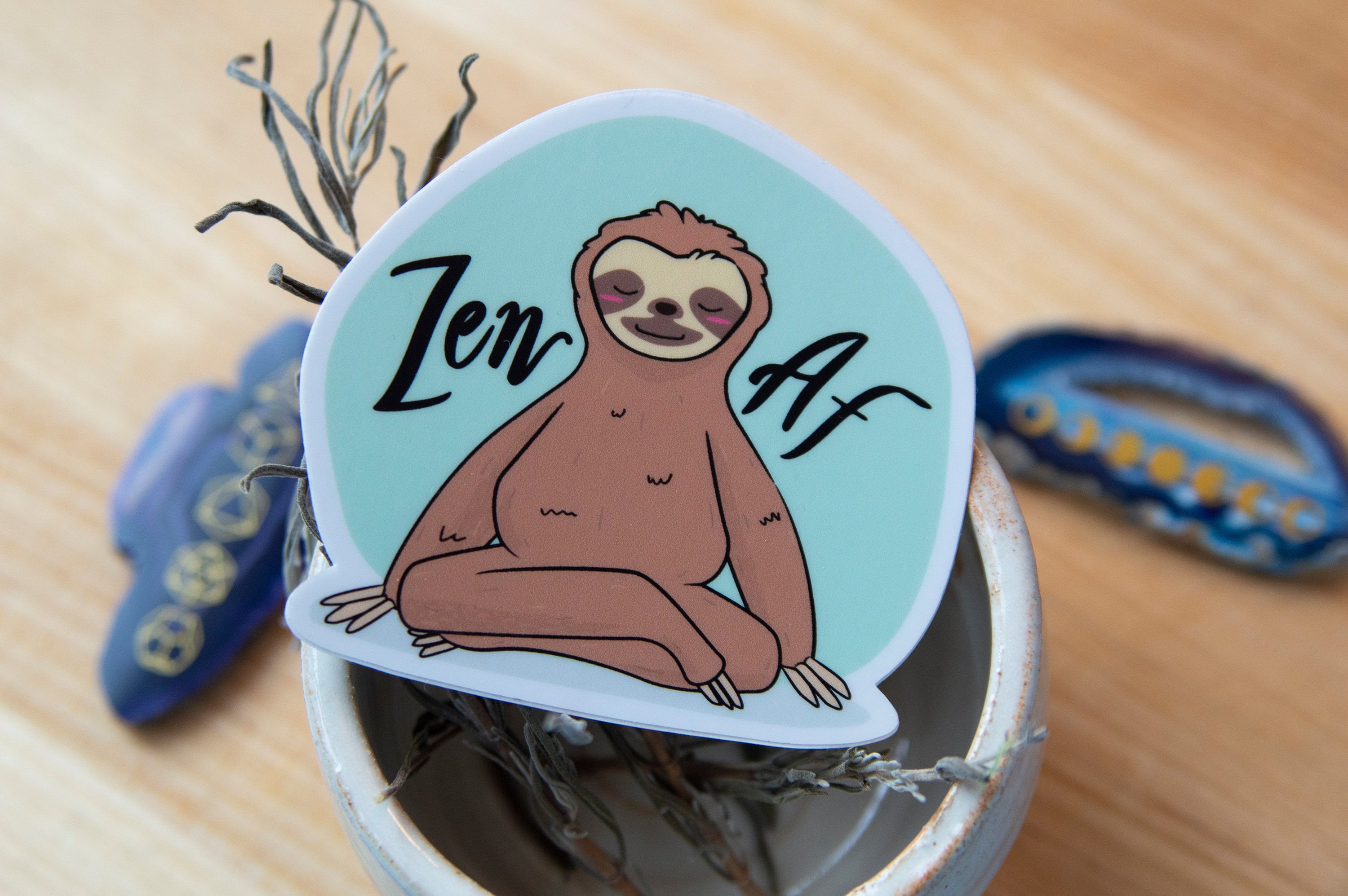 Zen AF Sloth Sticker - Hand Drawn - Yoga Vinyl Stickers, mint, sea foam green, sloths, animals doing yoga, cute kawaii