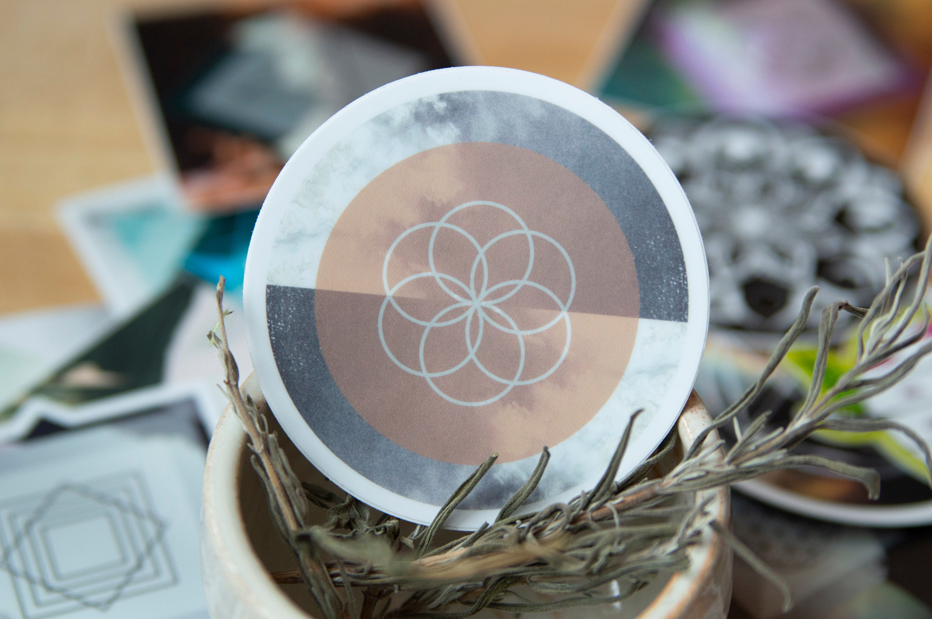 Seed of Life Sacred Geometry Sticker - Vinyl Stickers, flower of life, energy, crystal grid, boho, tarot, powerful, wiccan, witch,