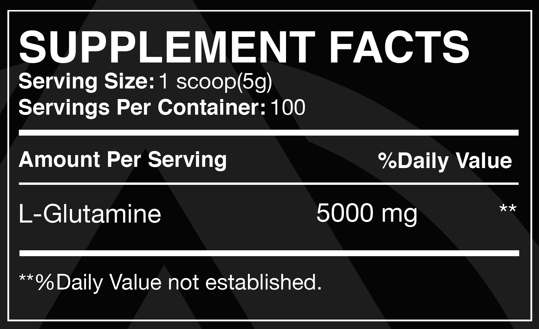Glutamine  suppliment Facts