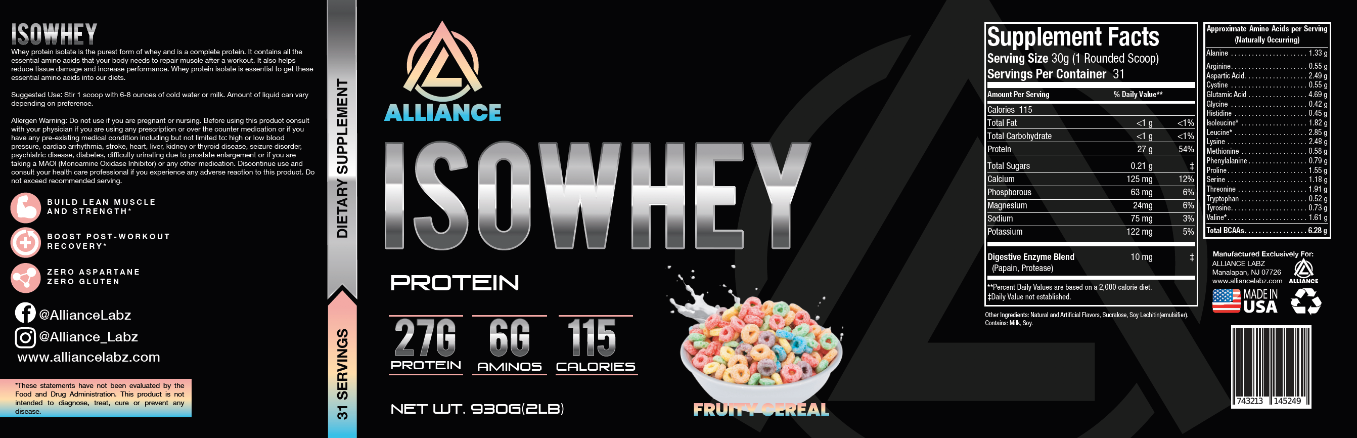 ISO Whey Protein Fruit Cereal -Facts