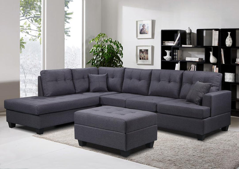 Ashton Full Fabric Corner Sofa with Ottoman