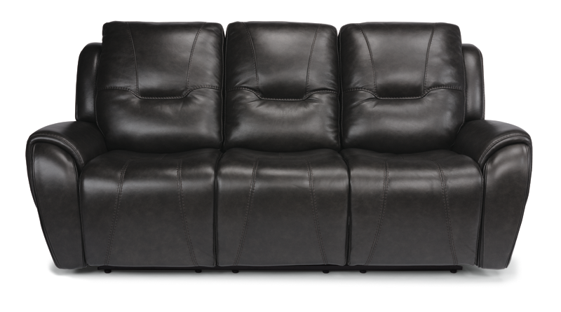 Trip Black Leather Power Triple Reclining Sofa