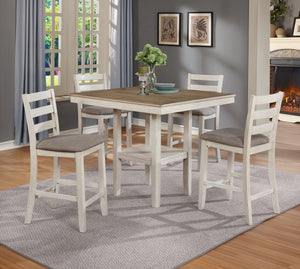 Crown Mark White Tahoe 5 Piece Counter Height Table Set