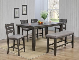 Bardstown Gray Counter Hight Dining Table W/ 4 chairs