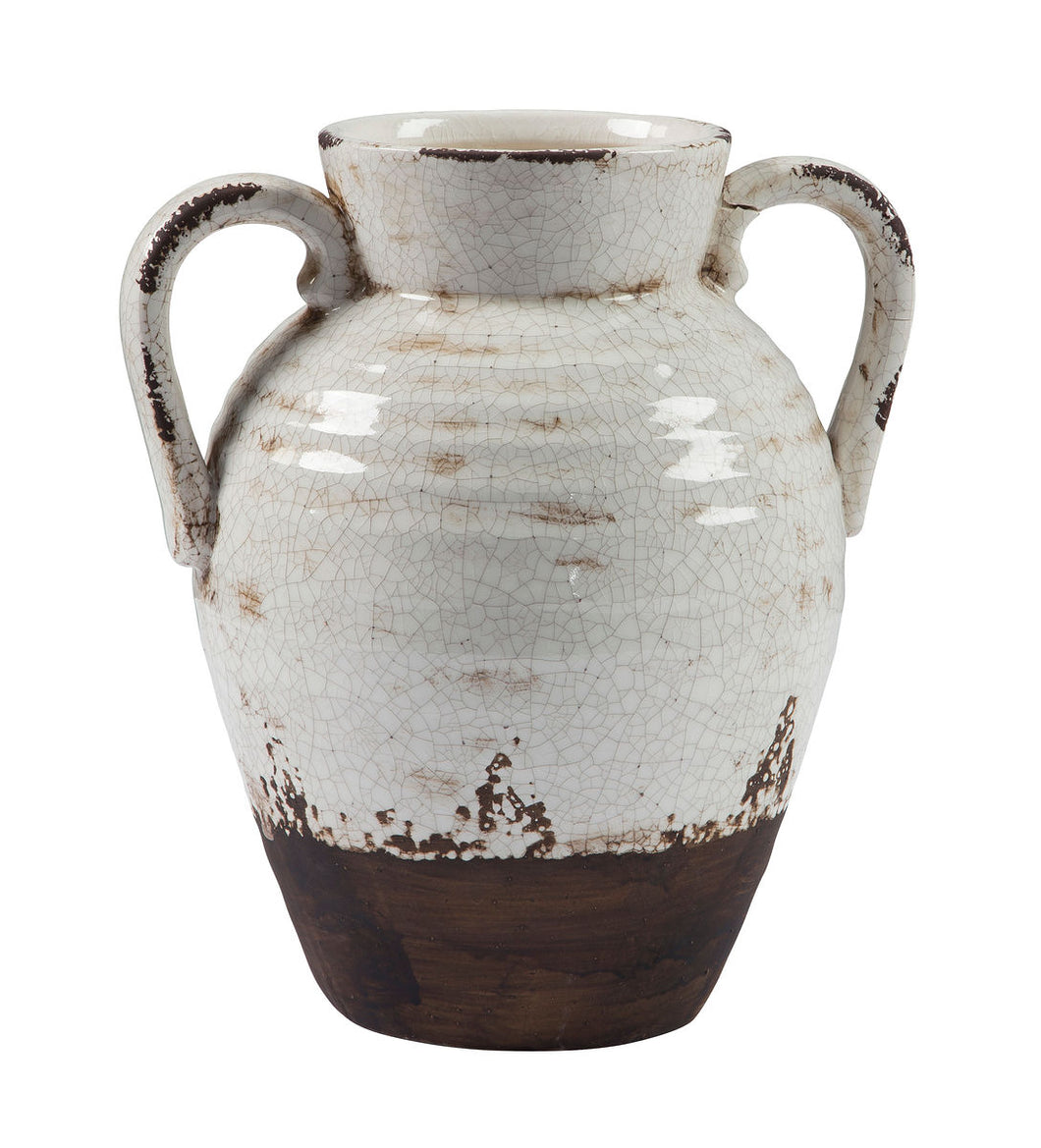 Dion Distressed Short White Vase