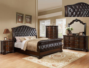 Sheffield Upholstered  Queen Bed With A Dresser And Mirror