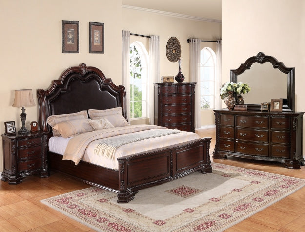 Sheffield Dark Brown Queen Upholstered Bed, Dresser & Mirror