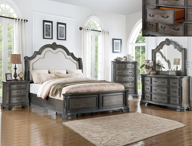 Sheffield Antique Gray  Queen Upholstered Bed, Dresser & Mirror