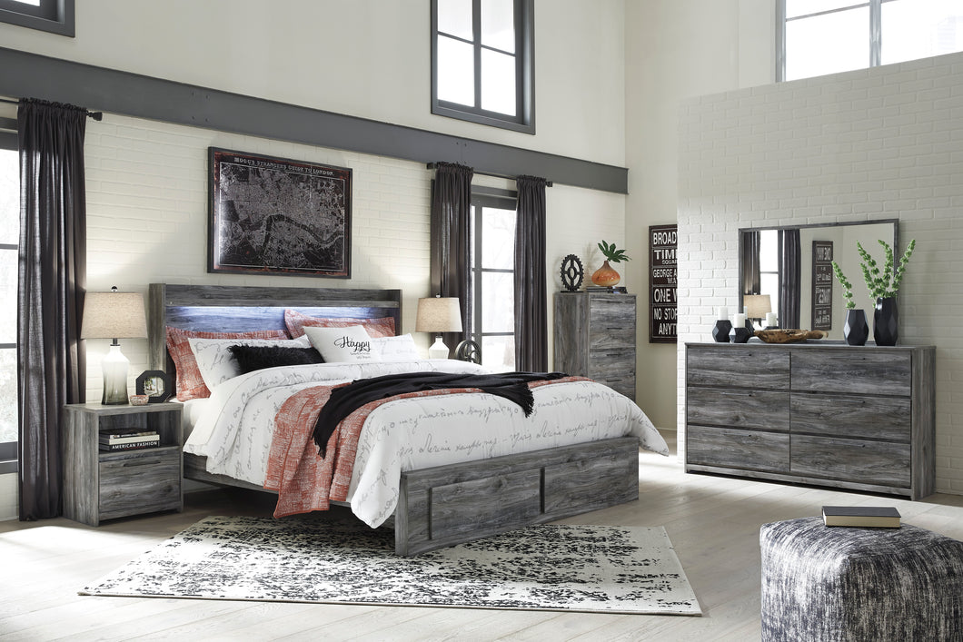 Baystorm Gray 7 Pc. Dresser, Mirror & King Panel Storage Bed