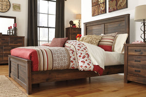 Quinden Dark Brown King Panel Bedroom Set