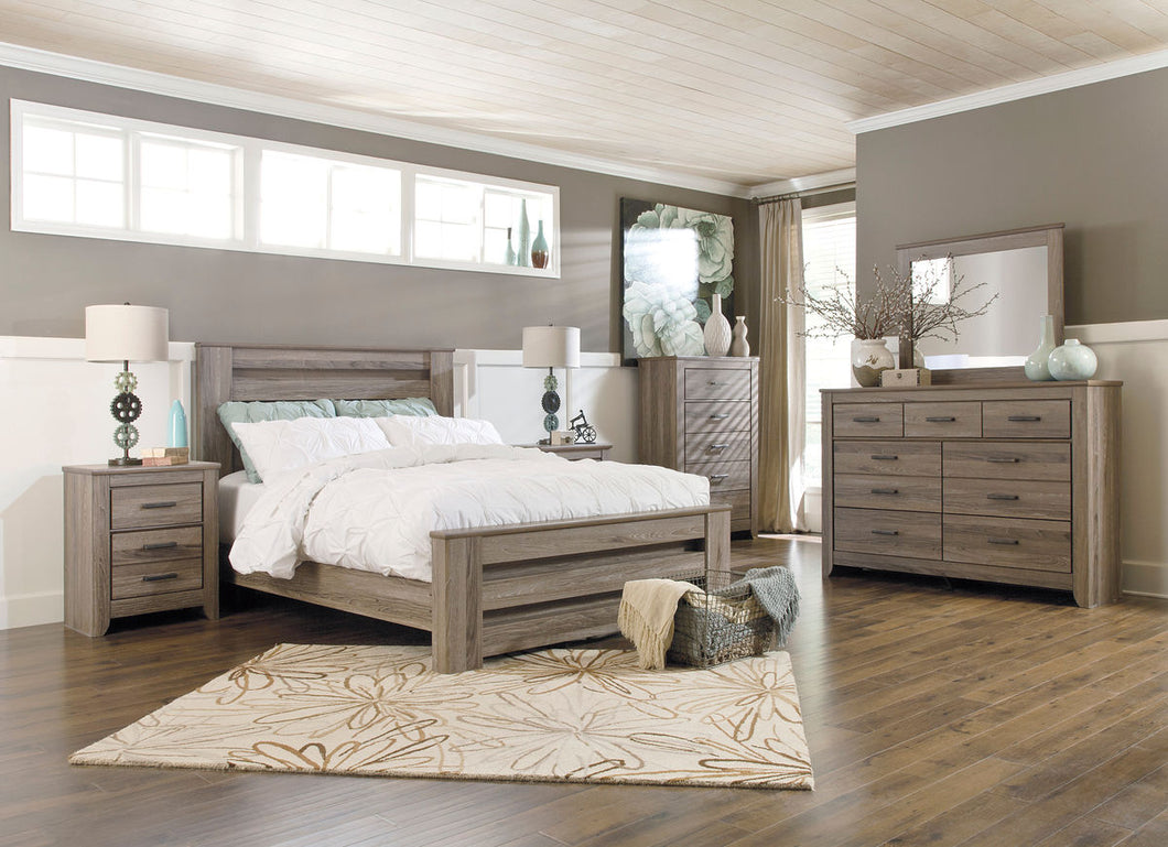 Zelen Warm Gray Queen Panel Bedroom Set