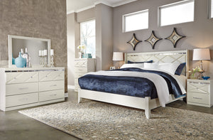 Dreamur Champagne 4 Pc. Dresser, Mirror & King Panel Bed