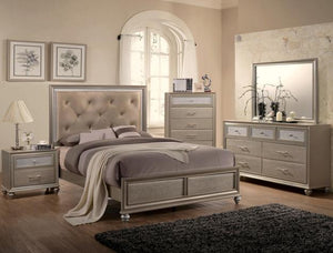 Lila  Full Upholstered Bed, Dresser & Mirror