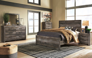 Cazenfeld Black/Gray King Panel Bed, Dresser & Mirror