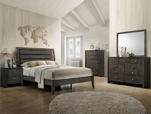 Evan Gray Twin Bed With A Dresser And Mirror