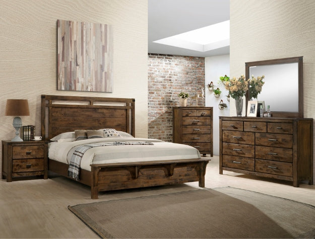 Curtis Panel Queen Bed With A Dresser And Mirror