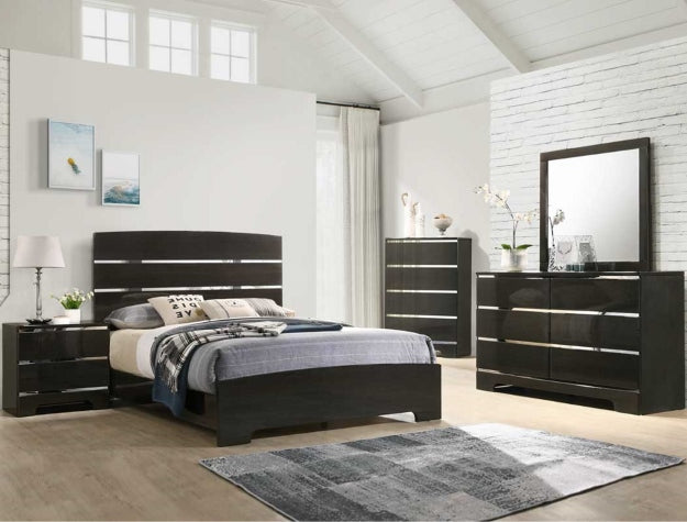 Chantel Black Queen Bed With A Dresser And Mirror