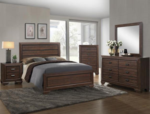Farrow Chocolate King Panel Bed, Dresser & Mirror