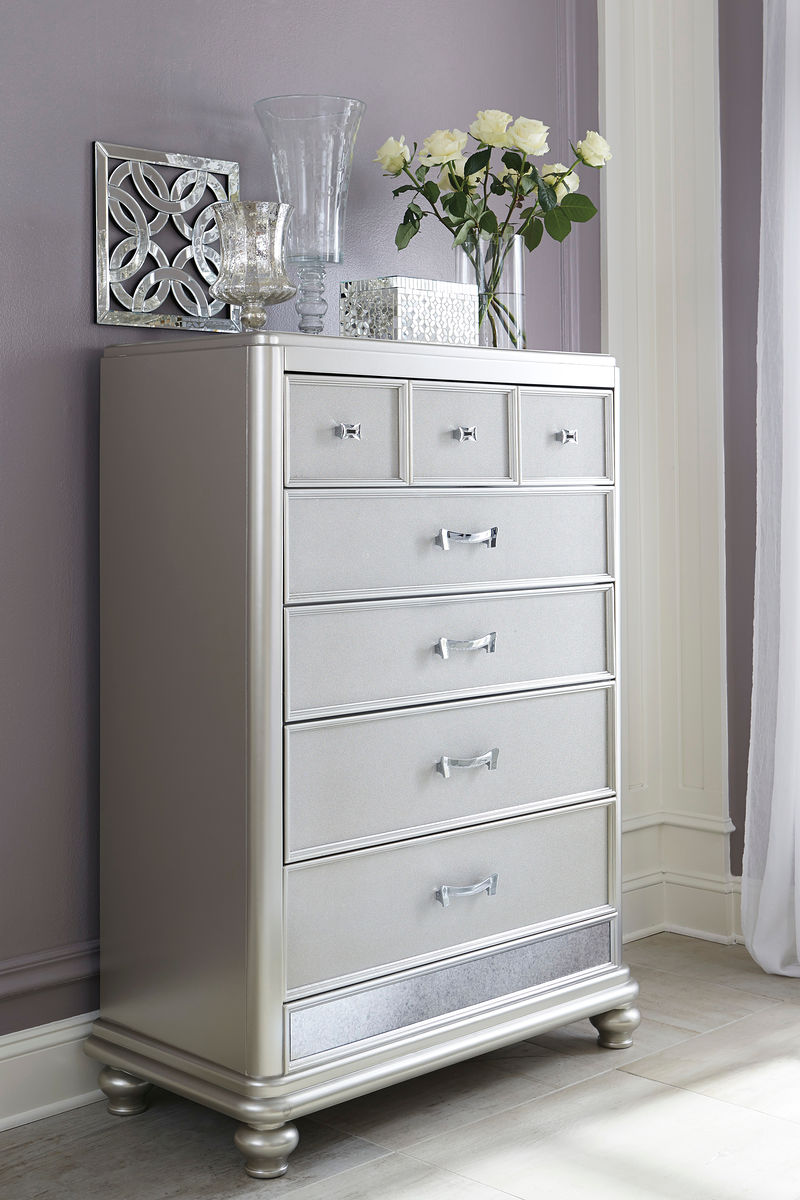 Coralayne Silver Five Drawer Chest