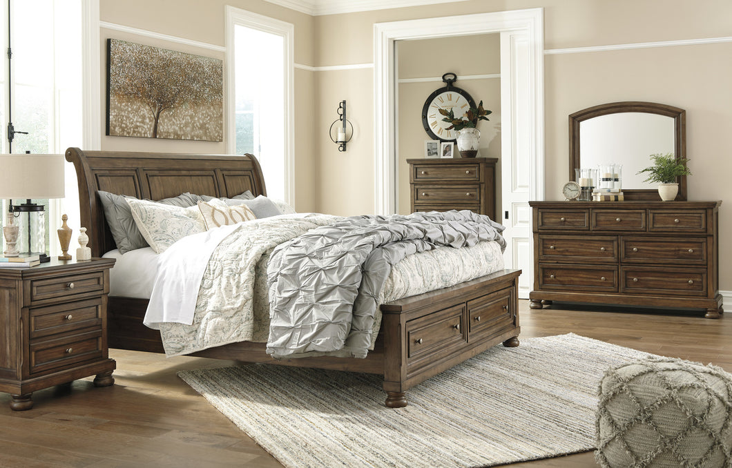 Flynnter Medium Brown King Sleigh Storage Bed