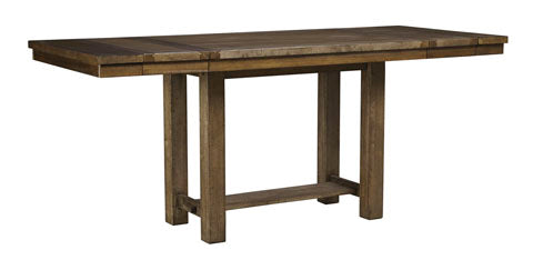 Moriville Grayish Brown Rectangular Dining Room Counter Extension Table