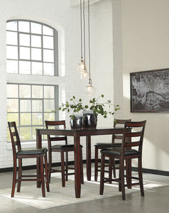 Coviar Brown 5 Piece Dining Room Counter Table Set