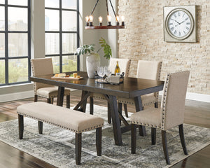 Rokane Brown 6 Piece Rectangular Extension Table Set