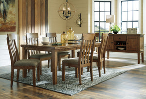 Flaybern Brown 7 Pc. Rectangular Extension Table, 6 Upholstered Side Chairs