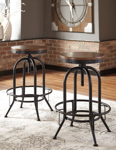 Valebeck Brown/Black Tall Swivel Barstool (Set of 2)