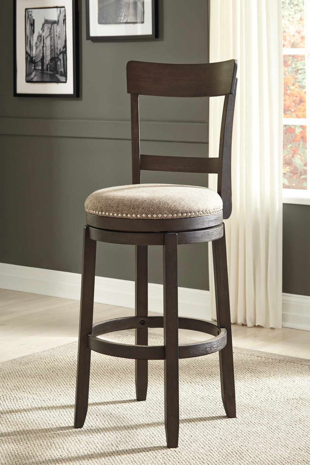 Drewing Brown Tall UPH Swivel Barstool (Set of 2)
