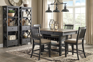 Tyler Creek Black/Gray 7 Pc. Rectangular Counter Height Dining Set
