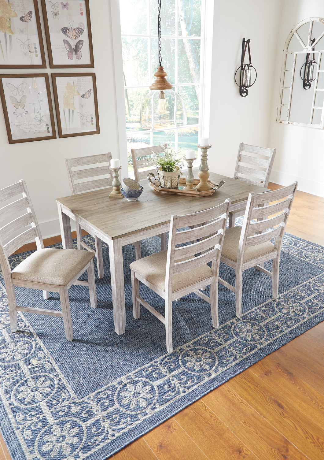 Skempton White/Light Brown 7 Piece Dining Room Table Set
