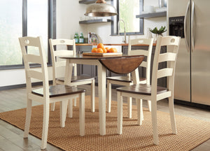 Woodanville White/Brown 5 Piece Round Drop Leaf Dining Set